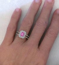 Pink Sapphire Ring Emerald Cut White Gold
