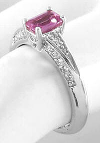 Emerald Cut Pink Sapphire and Diamond Ring