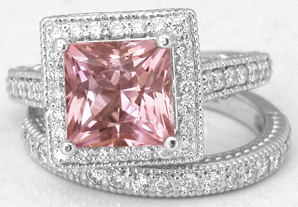 Princess Cut Pink Tourmaline Engagement Ring