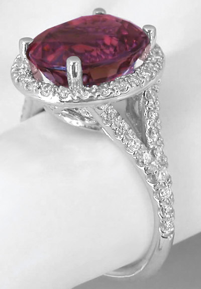 Pink Tourmaline And Diamond Ring In 14k White Gold With