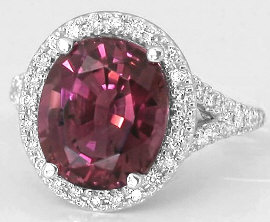 Nigerian Pink Tourmaline and Diamond Halo Ring