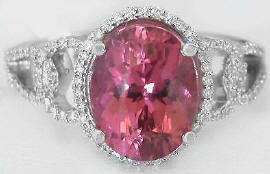Pink Tourmaline Engagement Ring with Oval Gemstone