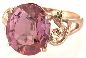 Peach Mauve Pink Tourmaline Ring in Rose Gold