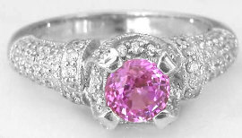 Diamond Encrusted 1.57 ctw Pink Sapphire and Diamond Engagement Ring in 18k white gold