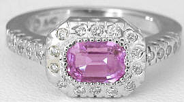 Emerald Cut Pink Sapphire Engagement Ring in 14k