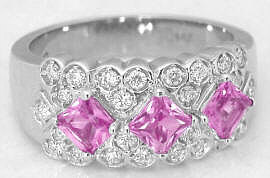 Princess Cut Pink Sapphire Band Ring in 14k white gold