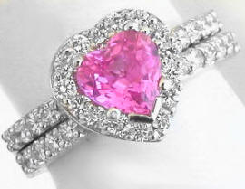 Platinum Heart Pink Sapphire Engagement Ring and Wedding Band