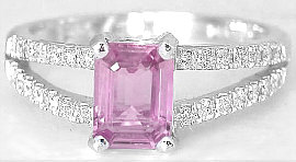 Emerald Cut Pink Sapphire Rings