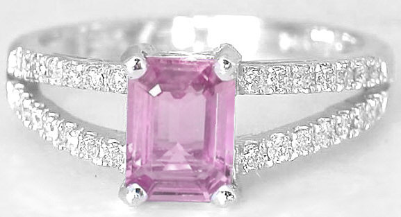 Pink Sapphire Ring Emerald Cut Splint Shank Design