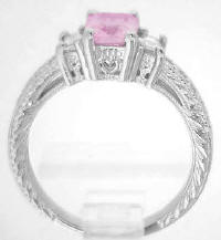 Radiant Cut Pink Sapphire and Diamond Rings