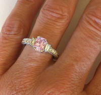 Natural Pink Sapphire and Baguette Diamond Rings