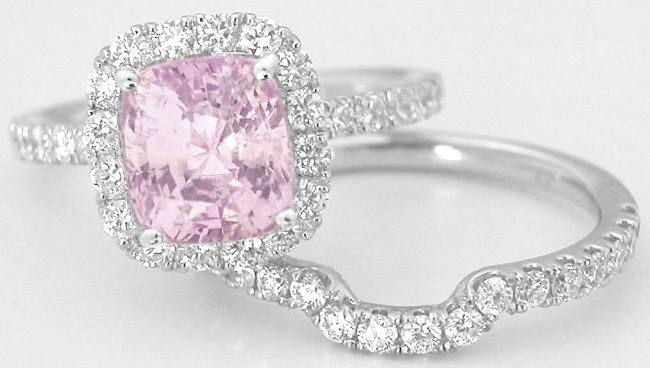 Cushion Cut Light Pink Sapphire and Diamond Halo Engagement Ring in 14k white