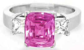 Pink Sapphire Engagement Rings in 3 Stone Design
