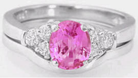 Oval Pink Sapphire Engagement Ring with  in White Gold