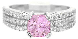 Radiant Cut Pink Sapphire Diamond Ring in 14k white gold