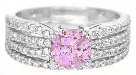 Light Pink Sapphire Diamond Engagement Ring and Matching Diamond Wedding Ring