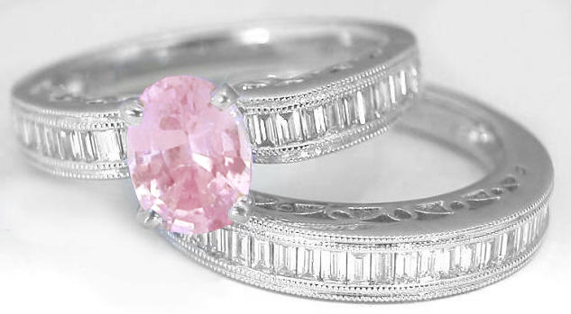 Baby Pink Sapphire in an Oval Cut in a beautiful Semi Mount