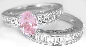 Elegant 1.62 ctw Pink Sapphire and Diamond Ring in 18k white gold with 0.29 ctw Matching Diamond Band in 18k white gold