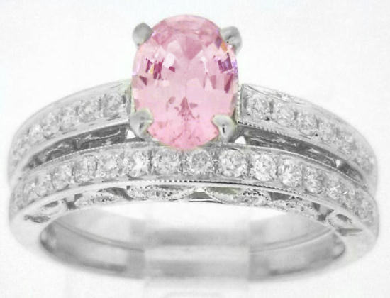 Light Pink Sapphire Engagement Ring and Matching Wedding Band GR 5905