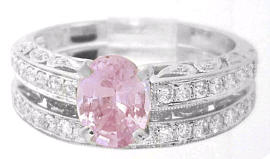 Light Pink Sapphire and Diamond Ring in 14k white gold