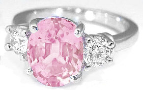 Three Stone Baby Pink Sapphire Engagement Rings