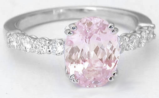 Natural Light Pink Sapphire and Single Row Diamond Engagement Ring in 14k Whi