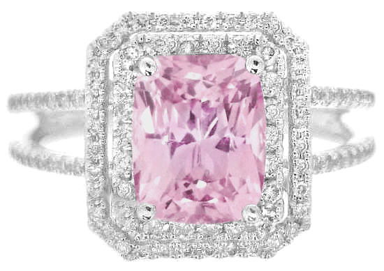Rare 2 Carat Radiant Cut Light Pink Sapphire And Double