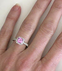 1.69 ctw Cushion Cut Light Pink Sapphire and Diamond Ring in 14k gold