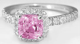 1.57 ctw Cushion Cut Light Pink Sapphire and Diamond Ring in 14k