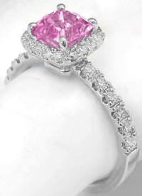1.69 ctw Cushion Light Pink Sapphire and Diamond Ring in 14k