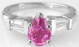 Pear Shape Pink Sapphire Baguette Diamond Ring