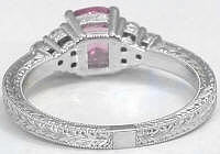 Pink Sapphire Diamond Rings with Engraving