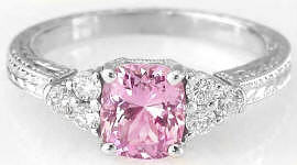 Engraved Pink Sapphire Ring