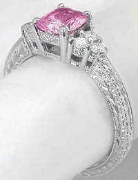 Pink Sapphire Diamond Ring with Engraving