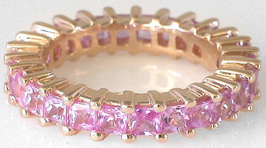 Pink Sapphire Eternity Bands with Princess Cut Sapphires ...