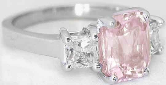 Light Baby Pink and White Sapphire Engagement Ring GR 5939