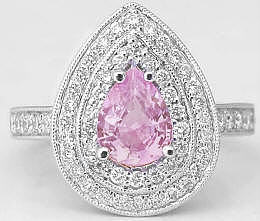 Pear Shape Light Pink Sapphire and Diamond Engagement  Ring in 14k white gold
