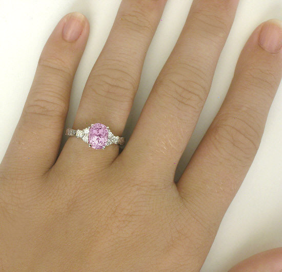Pastel Pink Sapphire And Diamond Ring With Special Hand Engraving Gr 5949