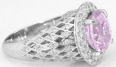 Custom Oval Pink Sapphire and Diamond Ring in 14k white gold