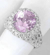 Large Oval Pink Sapphire and Diamond Ring in 14k white gold
