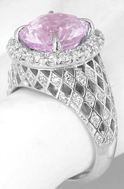 Lattice Style Pink Sapphire and Diamond Ring in 14k white gold.