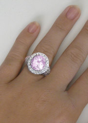 7 carat Pink Sapphire Diamond Halo Engagement Ring in 14k white gold