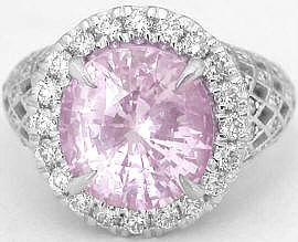 7.02 ctw Pink Sapphire and Diamond Engagement Ring