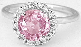 Round Cut Peachy Pink Sapphire and Diamond Ring in 14k white gold