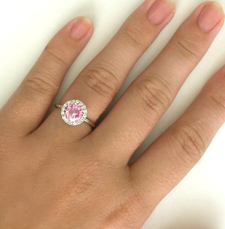 Natural Round Peachy Pink Sapphire And Diamond Halo