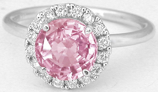 Ceylon Round Pink Sapphire and Diamond Halo Ring with High