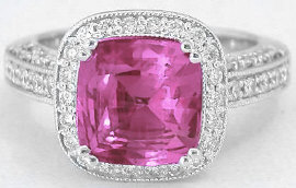 Exceptional 4.02 ctw Cushion Cut Bright Pink Sapphire and Diamond Ring in 14k