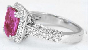 Rare Cushion Cut Bright Pink Sapphire and Diamond Ring in 14k