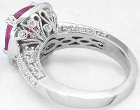 Ornate Cushion Cut Bright Pink Sapphire and Diamond Rings in 14k