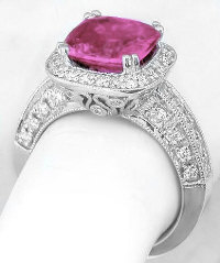 Cushion Bright Pink Sapphire and Diamond Rings in 14k